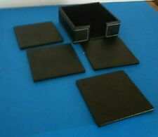 Faux Leather 4 Coaster Set with Holder Black