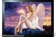 BLACK FRAMED ANGELS DUSK - 3D CULT FANTASY PICTURE 465mm x 365mm