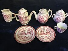 Antique Victorian Staffordshire Allerton Child's Red Punch Judy Tea Set 10 pcs
