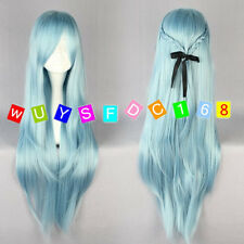 Women Long Sword Art Online -Asuna Yuuki Wigs light blue Anime Cosplay Wig