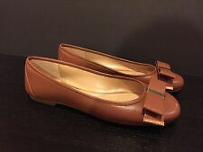 Michael Kors Delphine Ballet Flats Shoes Round Toe Leather Luggage 7.5 M/38