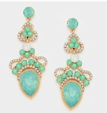 "2.5"" Mint Blue Dangle Gold AB Austrian Crystal Pageant Bridal Earrings"