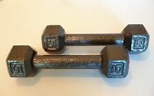Pair of 5 lb. Cast Iron Hex Dumbbells Weights 10 Pounds Total