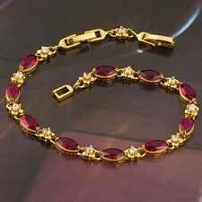 Womens Girls 18K Yellow Gold Filled Red Ruby Bracelet Gold Chain 8 inch