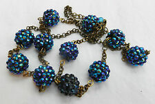 Pretty Elizabeth Duke Blue Crystal Ball and Chain Necklace - Boxed