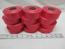 """(12) rolls Red Flagging Tape 1-3/16"""" x 300' 2 mil Trail Marking Free Shipping"""
