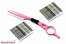 Thinning Hairdressing Feather Pink Hairdressers Texturing Razor + 20 Blades