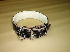 2 IN PADDED LEATHER COLLAR POLICE K-9 SCHUTZHUND IPO CUSTOM MADE SIZE COLOR ETC