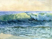 "Handpainted art Oil painting seascape - ocean waves with beach in sunset 24""x36"""