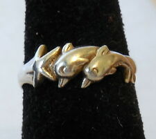 STERLING SILVER .925 Ring  2 DOLPHINS & STAR size 7