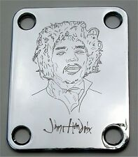 GUITAR NECK PLATE Custom Engraved Fits Fender Strat - JIMI HENDRIX - CHROME