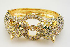 Kenneth Jay Lane Panther Bracelet with Crystals   PETITE  Goldtone