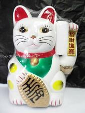 "12"" WHITE Large BIG Chinese Lucky Good Luck Waving Hand Paw Up Fortune Kitty Cat"