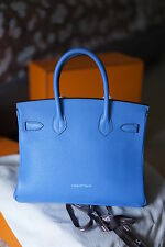 NEW! Hermes Birkin Rare color Bleu Paradis 30cm GOLD HW 2014 R Stamp
