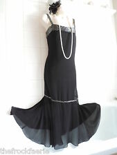 Vintage sz16 1920's Black Drop Waist Deco Beaded Charleston Flapper Gatsby Dress