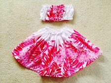 "NEW PINK WHITE HAWAIIAN PAU PA'U HULA SKIRT TOP GIRL 14"" LONG"