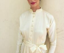 Vintage 50's Pale Yellow Satin Dress Custom Made Chinese Asian Sexy