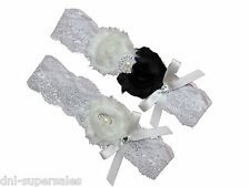 Black & White Wedding Garter Set (keepsake+toss) Lace Bow Pearl Rhinestone, Sexy