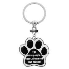 I Love my Dog Funny Paw Print Key Ring Bag Charm Dog Lovers Gift