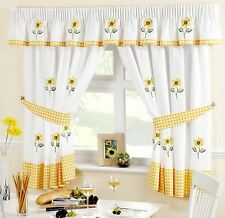 "SUNFLOWER YELLOW EMBROIDERED GINGHAM KITCHEN CURTAIN 46 X 54"" & PELMET 136 X 10"""