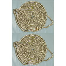 2 Pack of 3/8 x 15 Ft Gold & White Double Braid Nylon Mooring and Docking Lines