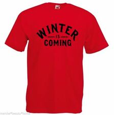 MEN'S winter is coming game of thrones loose fit t shirt RED  tv slogan large