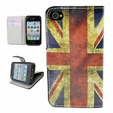 Folding Leather Wallet Stand Case Cell Phone Cover For Apple Iphone 4 4G 4S 4GS