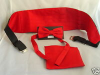 RED Polyester Bow tie + Cummerbund and Hanky Set P&P 2UK 1st Class in 60 colours
