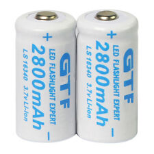 White 2x 3.7V CR123A 123A CR123 16340 2800mAh GTF Rechargeable Battery Cell