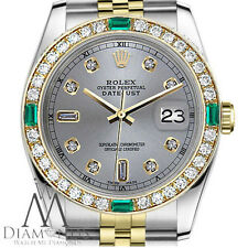 Women's Rolex 31mm Datejust 2Tone SlateGrey Dial with 8+2 Emerald Diamond Accent