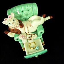 Pig Figurine Sitting in Chair Eating Valentines Chocolates with Engagement Ring