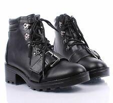 "Fashion Lady Lace Up Side Buckles Military 2"" High Heels Womens Combat Boots"