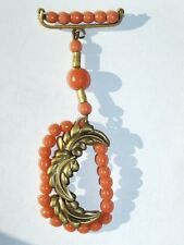 Vintage Angel Skin Coral COLOR Glass Bead & Brass Dangle Brooch Pin