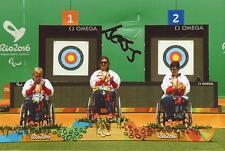 ARCHERY: JESS STRETTON SIGNED 6x4 RIO 2016 GOLD MEDAL PHOTO+COA *PARALYMPICS*
