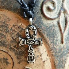 Cross of life Tiny Egypt Ra Eye Ankh Pagan Pewter Pendant With Cotton Necklace