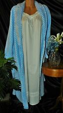 Nightgown Peignoir Set. XL, NWOT ALEXANDAR DEL ROSA/JASMINE ROSE. WHITE & BLUE.