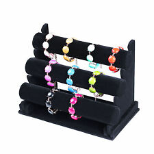 New 3 Tier Black Velvet Jewelry Bracelet Watch Show Display Rack Holder Stand EM