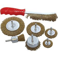 HEAVY DUTY 7PC DRILL WIRE WHEEL CUP FLAT BRUSH METAL CLEANING RUST SANDING