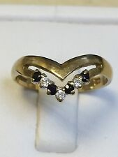 Lovely 9 Carat Yellow Gold GARNET & WHITE STONE Set WISHBONE Ring