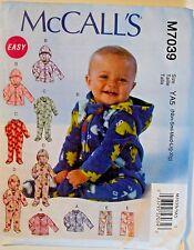 McCall's Infant Jacket Bodysuit Pants Sewing Pattern 7039 Size Nbn - XL UNCUT