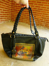 "SHARIF Black Leather Womens Purse Handbag Bag 19"" x 12"" Cheetah Big Cat Motif"