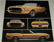 1968 Ford Shelby Mustang GT 500 KR Convertible car print (yellow, no top)