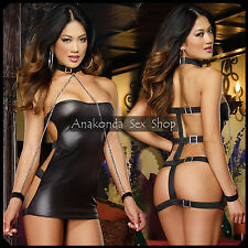 Julie SEXY Handcuffs BDSM Lingerie Chain PVC Leather Latex Costume Sex Toy Party