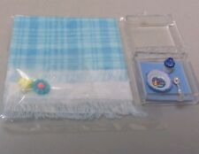 Dollhouse miniatures blue baby blankets w/toys & baby dish with sippy cup