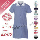 Girl's School Summer Dress Gingham Check Navy Black Pink Sky Blue Purple Red