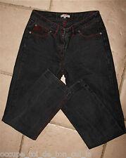 joli jeans noir et rouge femme JEAN PAUL GAULTIER JUNIOR taille 16 ans (36-38)