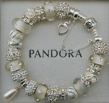 Authentic Pandora Bracelet Genuine Swarovski Pearl 925 Sterling Safety Chain Box