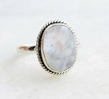 STATEMENT RAINBOW MOONSTONE 925 SOLID STERLING SILVER GIRL GIFT RING SIZE X Y Z