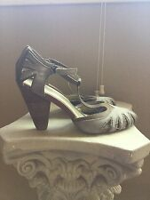 Anthropologie Seychelles shoes /heels, size 9 1/2, T - strap, leather