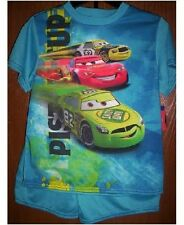 Disney CARS Pajamas Boys 8 NeW Blue/Green Shirt Shorts Pjs Set Lightning McQueen
